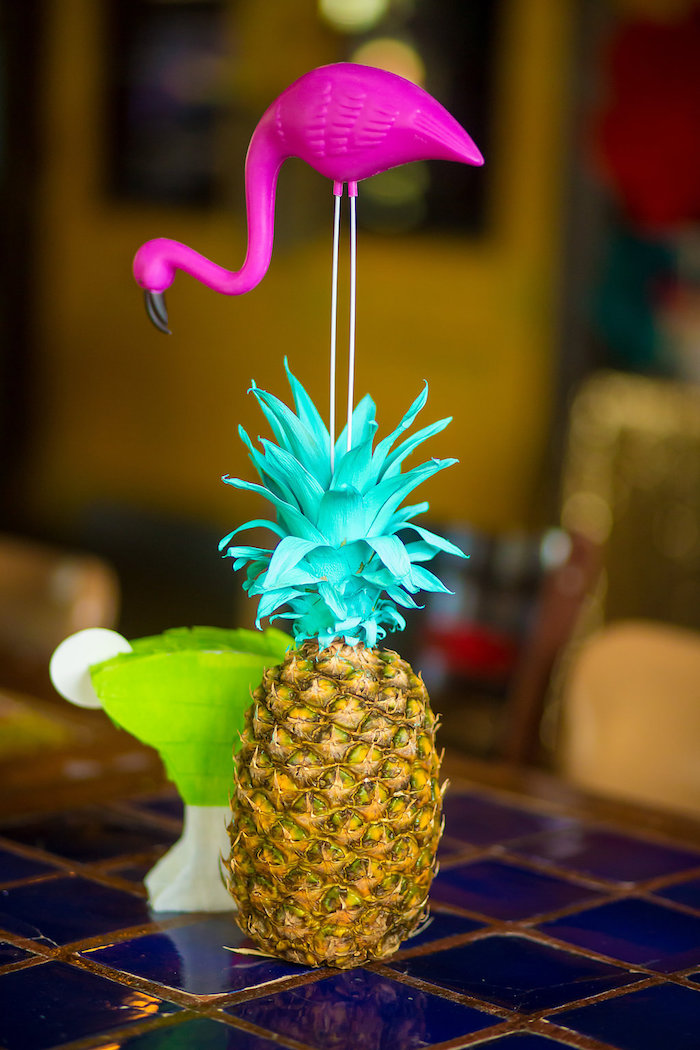 Painted pineapple centerpiece from a Colorful Flamingle Fiesta via Kara's Party Ideas | KarasPartyIdeas.com (38)