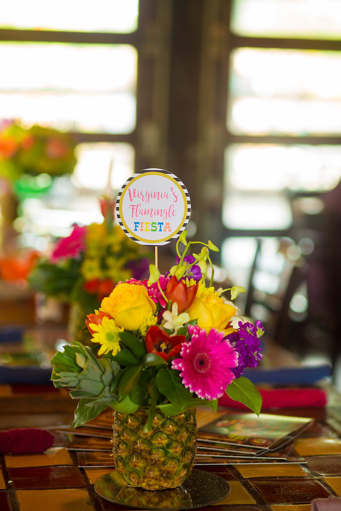 Flower centerpiece from a Colorful Flamingle Fiesta via Kara's Party Ideas | KarasPartyIdeas.com (36)