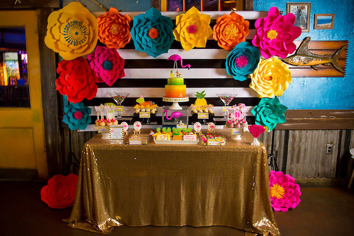 Full dessert table from a Colorful Flamingle Fiesta via Kara's Party Ideas | KarasPartyIdeas.com (33)