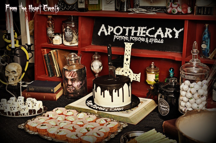 creepy apothecary vintage halloween party