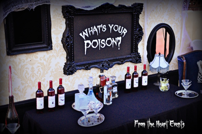 Drink table from a Creepy Apothecary Vintage Halloween Party on Kara's Party Ideas | KarasPartyIdeas.com (29)