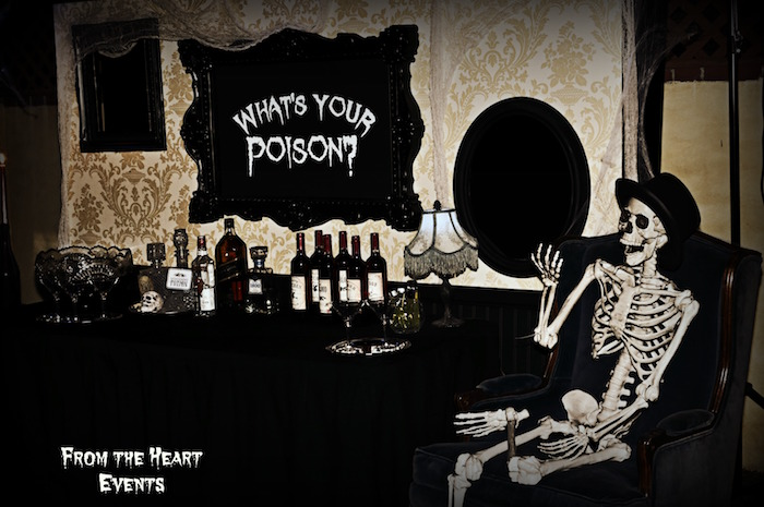 Skeleton drink table from a Creepy Apothecary Vintage Halloween Party on Kara's Party Ideas | KarasPartyIdeas.com (9)