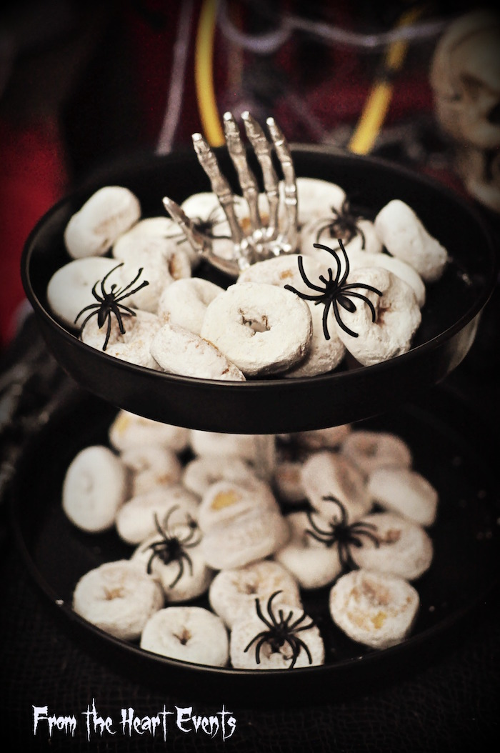Mini powdered donuts from a Creepy Apothecary Vintage Halloween Party on Kara's Party Ideas | KarasPartyIdeas.com (27)