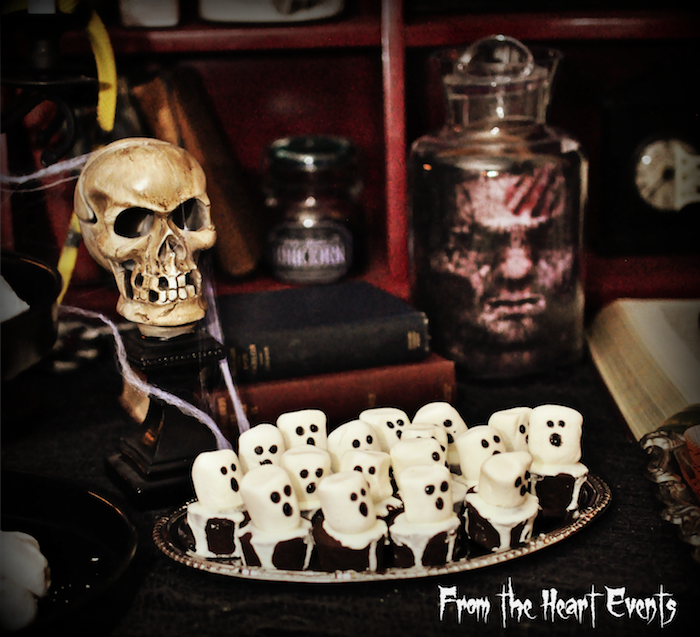 marshmallowbrownie pops from a creepy apothecary vintage halloween party on karas party ideas