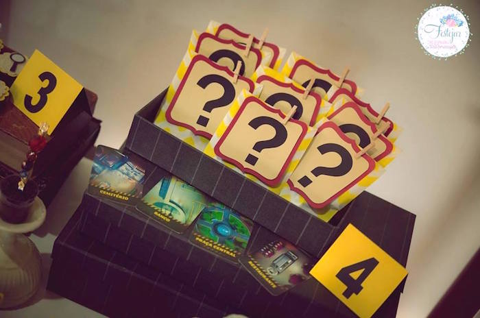 Question mark favors from a Detective + Mystery Birthday Party on Kara's Party Ideas | KarasPartyIdeas.com (22)