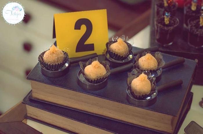 Evidence truffles from a Detective + Mystery Birthday Party on Kara's Party Ideas | KarasPartyIdeas.com (21)