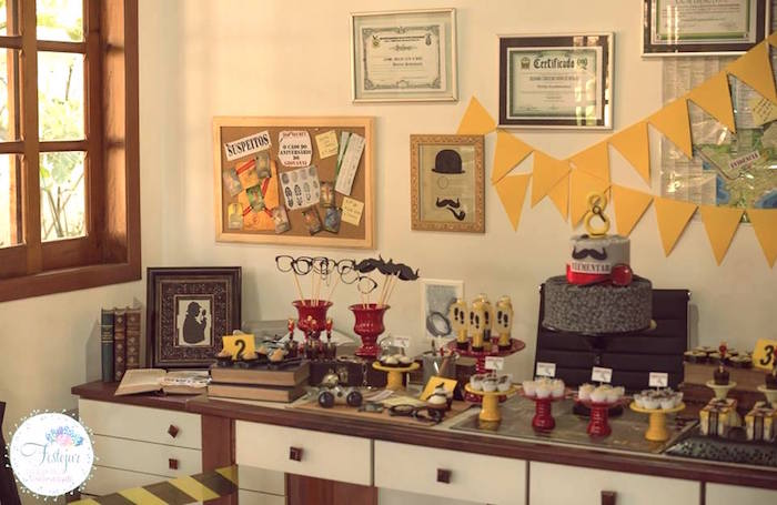 Detective themed party table from a Detective + Mystery Birthday Party on Kara's Party Ideas | KarasPartyIdeas.com (19)