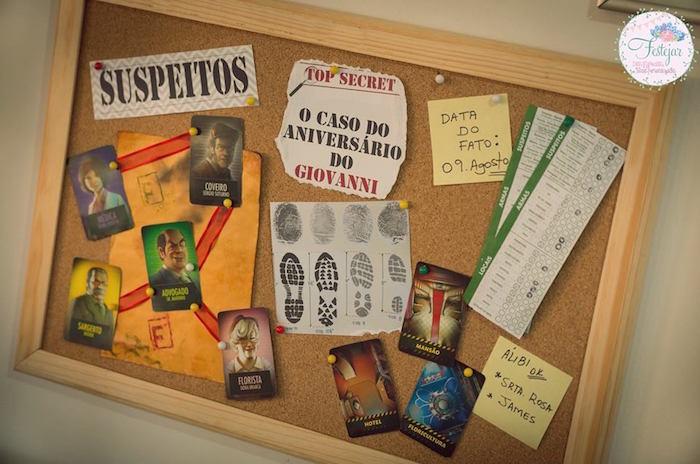 Detective's bulletin board from a Detective + Mystery Birthday Party on Kara's Party Ideas | KarasPartyIdeas.com (11)