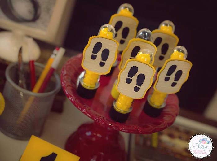 Footprint favor tubes from a Detective + Mystery Birthday Party on Kara's Party Ideas | KarasPartyIdeas.com (10)