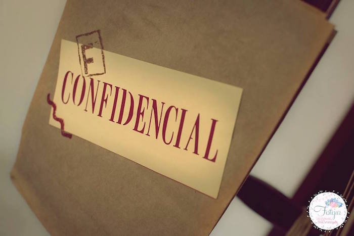 Confidential bags from a Detective + Mystery Birthday Party on Kara's Party Ideas | KarasPartyIdeas.com (28)
