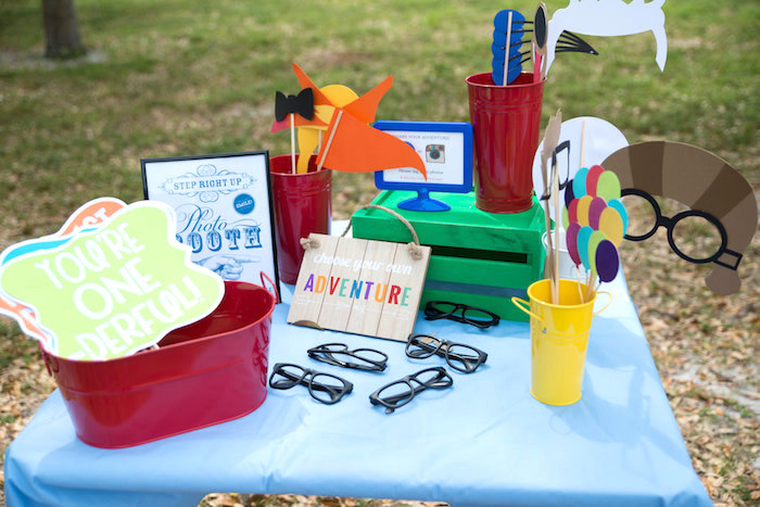 Photo booth prop table from a Disney's Up Themed Birthday Party on Kara's Party Ideas | KarasPartyIdeas.com (18)