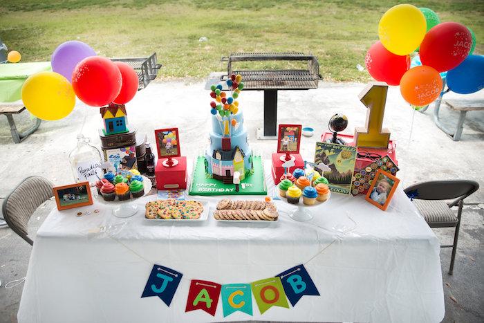 Up themed dessert table from a Disney's Up Themed Birthday Party on Kara's Party Ideas | KarasPartyIdeas.com (17)