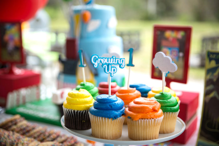 Colorful cupcakes from a Disney's Up Themed Birthday Party on Kara's Party Ideas | KarasPartyIdeas.com (16)