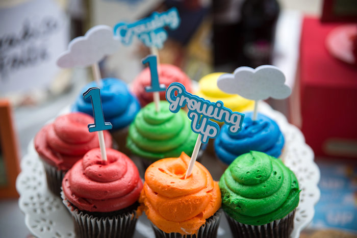 Colorful cupcakes from a Disney's Up Themed Birthday Party on Kara's Party Ideas | KarasPartyIdeas.com (10)