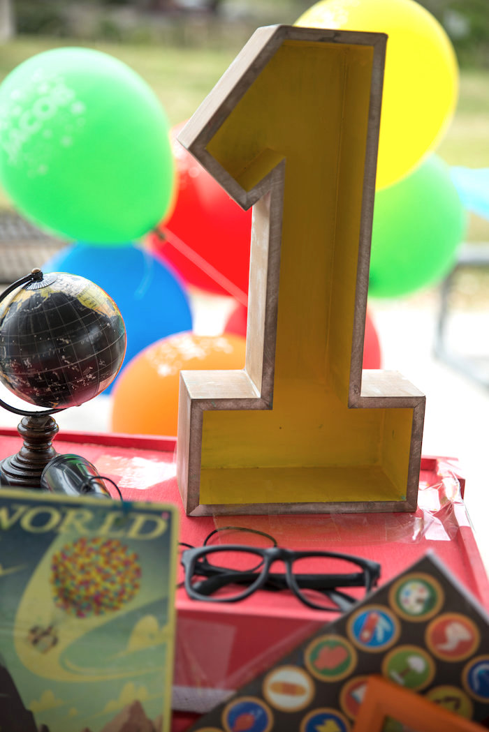 """Wooden """"1"""" from a Disney's Up Themed Birthday Party on Kara's Party Ideas 