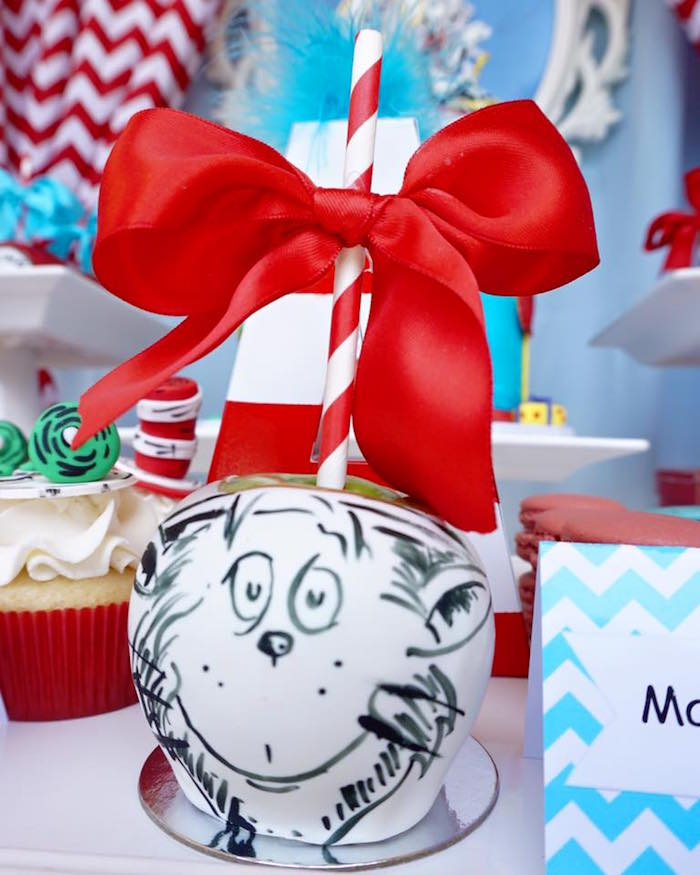 Gourmet Cat in the Hat Apple from a Dr. Seuss Birthday Party on Kara's Party Ideas | KarasPartyIdeas.com (4)