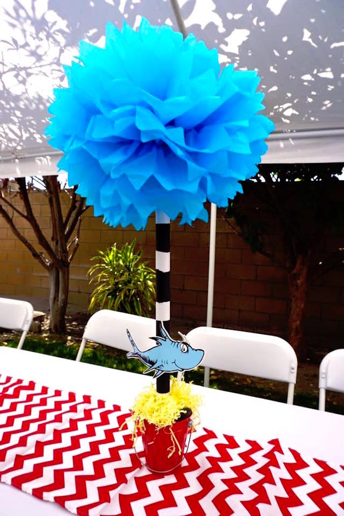 Truffula Tree table centerpiece from a Dr. Seuss Birthday Party on Kara's Party Ideas | KarasPartyIdeas.com (3)