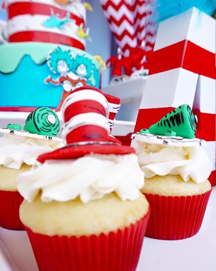 Cupcakes from a Dr. Seuss Birthday Party on Kara's Party Ideas | KarasPartyIdeas.com (14)