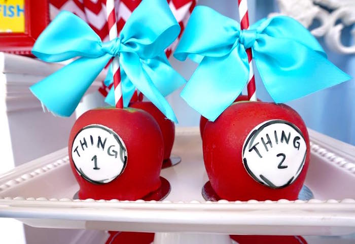 Thing 1 & 2 gourmet apples from a Dr. Seuss Birthday Party on Kara's Party Ideas | KarasPartyIdeas.com (9)