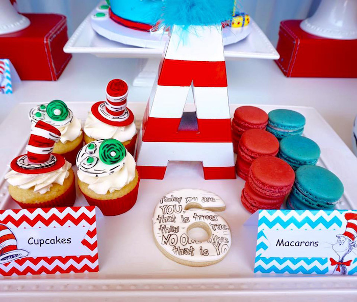 Cupcakes & macarons from a Dr. Seuss Birthday Party on Kara's Party Ideas | KarasPartyIdeas.com (8)