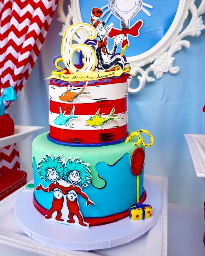 Cat in the Hat Cake from a Dr. Seuss Birthday Party on Kara's Party Ideas | KarasPartyIdeas.com (7)