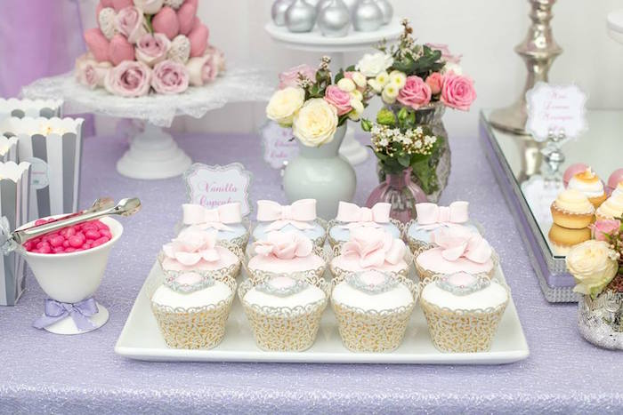 Cupcakes from an Elegant Purple Princess Birthday Party on Kara's Party Ideas | KarasPartyIdeas.com (9)