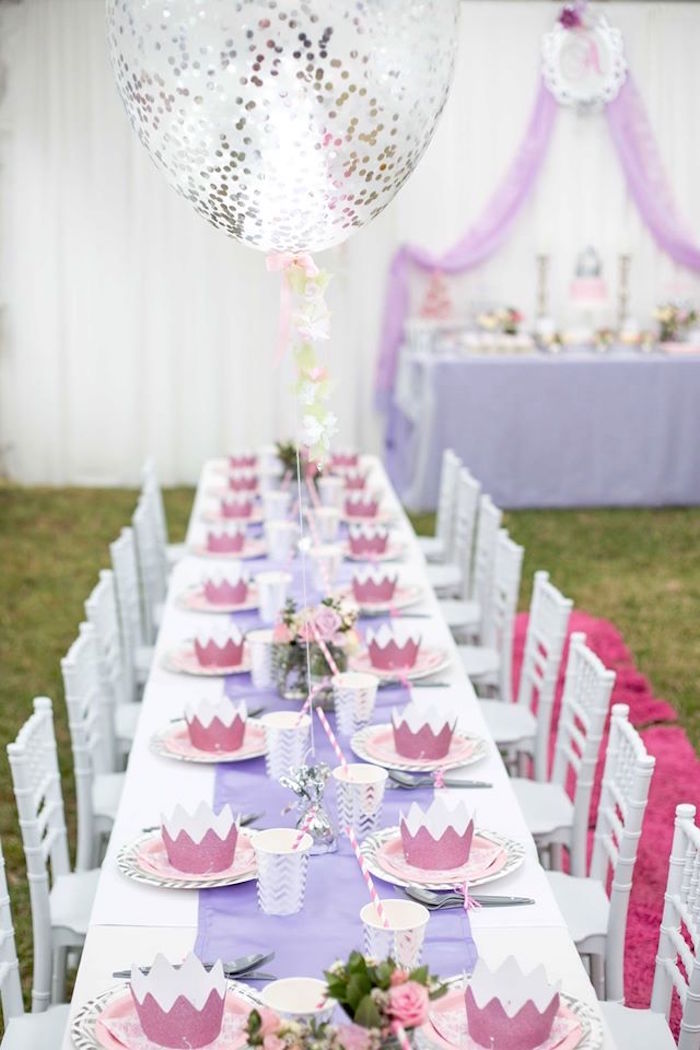 Kids princess tablescape from an Elegant Purple Princess Birthday Party on Kara's Party Ideas | KarasPartyIdeas.com (5)