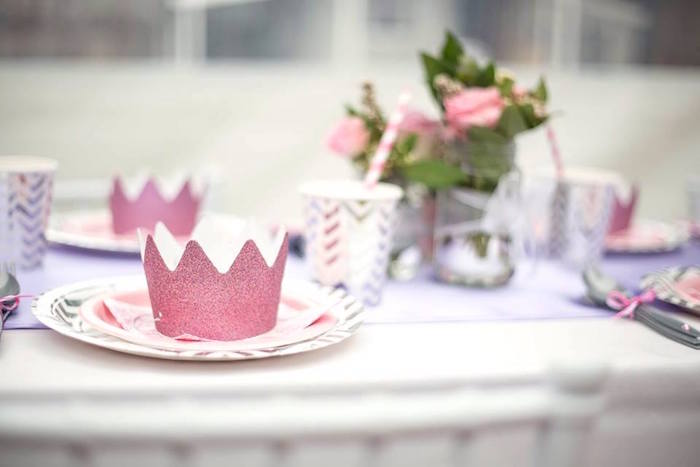 Glitter princess crown from an Elegant Purple Princess Birthday Party on Kara's Party Ideas | KarasPartyIdeas.com (20)