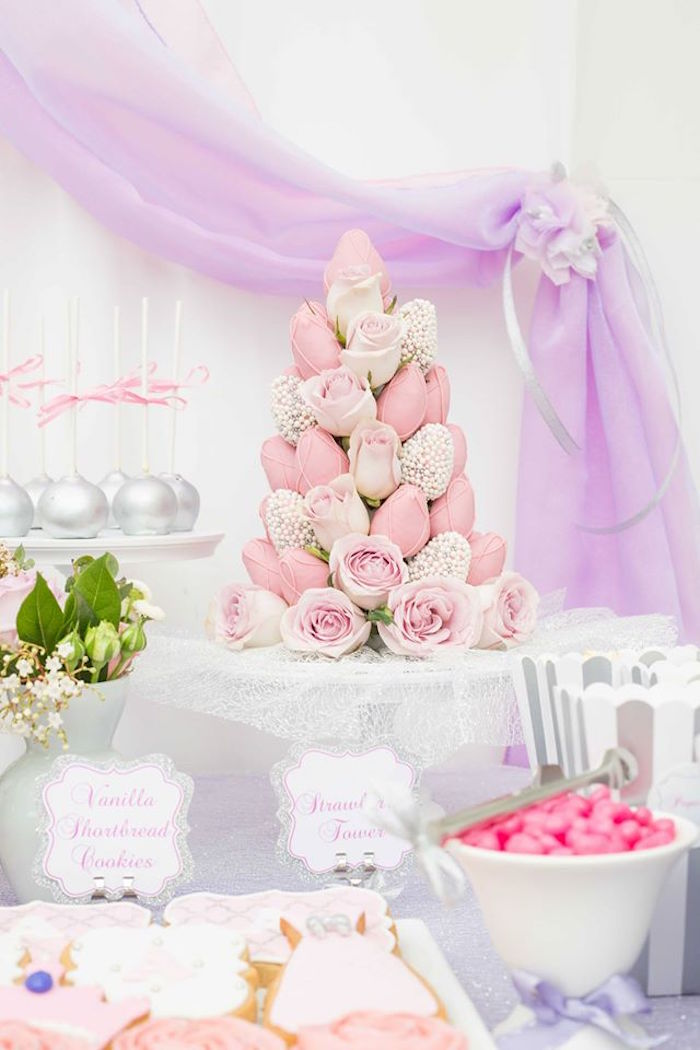 Chocolate covered strawberry + rose tower from an Elegant Purple Princess Birthday Party on Kara's Party Ideas | KarasPartyIdeas.com (18)