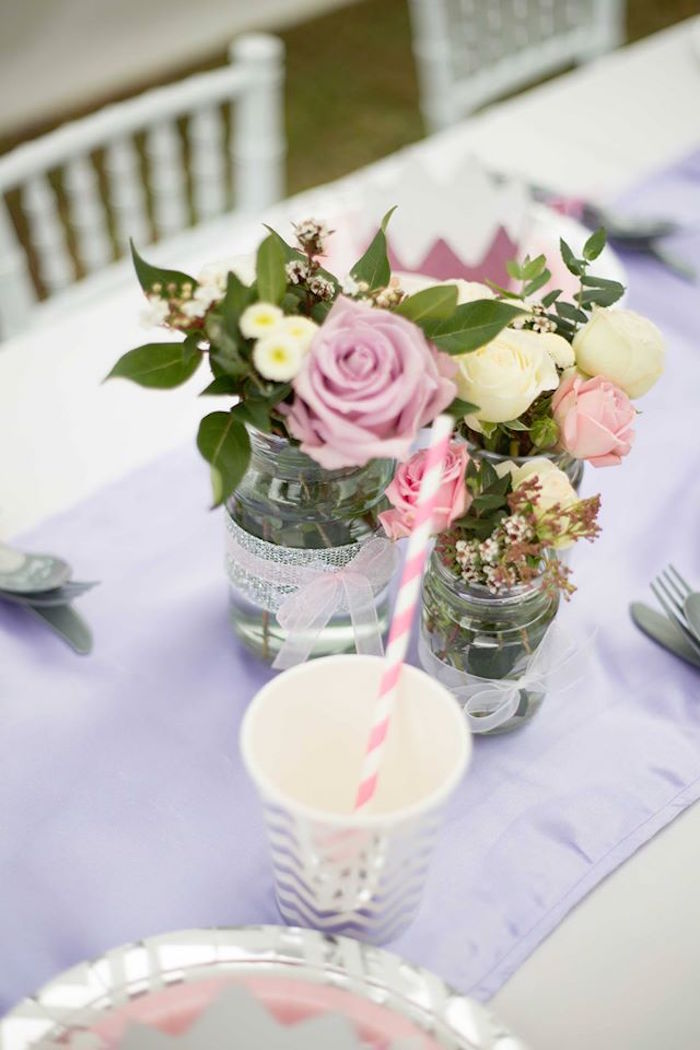 Fresh flower centerpieces from an Elegant Purple Princess Birthday Party on Kara's Party Ideas | KarasPartyIdeas.com (17)