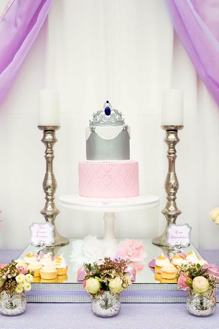Cake + cakescape from an Elegant Purple Princess Birthday Party on Kara's Party Ideas | KarasPartyIdeas.com (16)