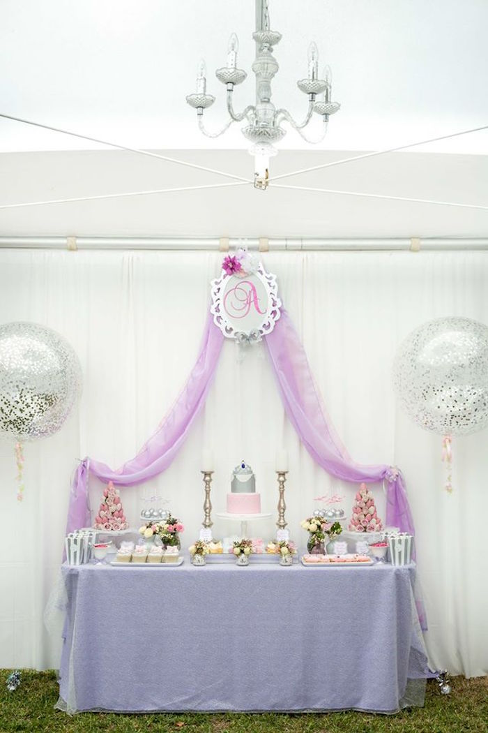 Princess party dessert table from an Elegant Purple Princess Birthday Party on Kara's Party Ideas | KarasPartyIdeas.com (13)