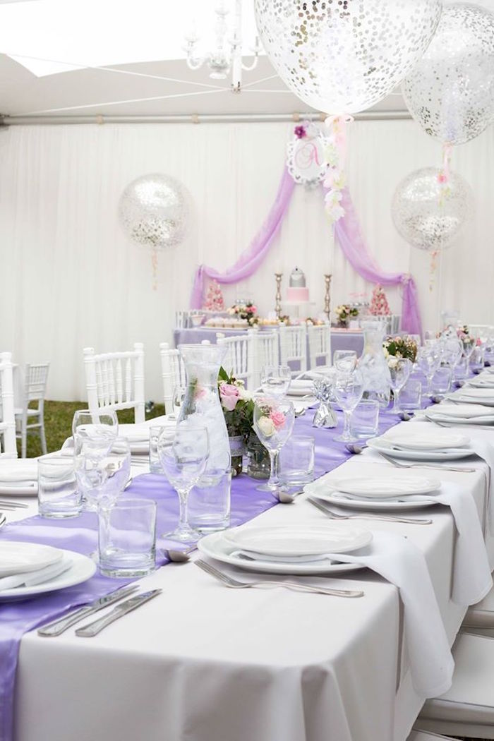 Adult Dining Tablescape From An Elegant Purple Princess Birthday Party On Karas Ideas