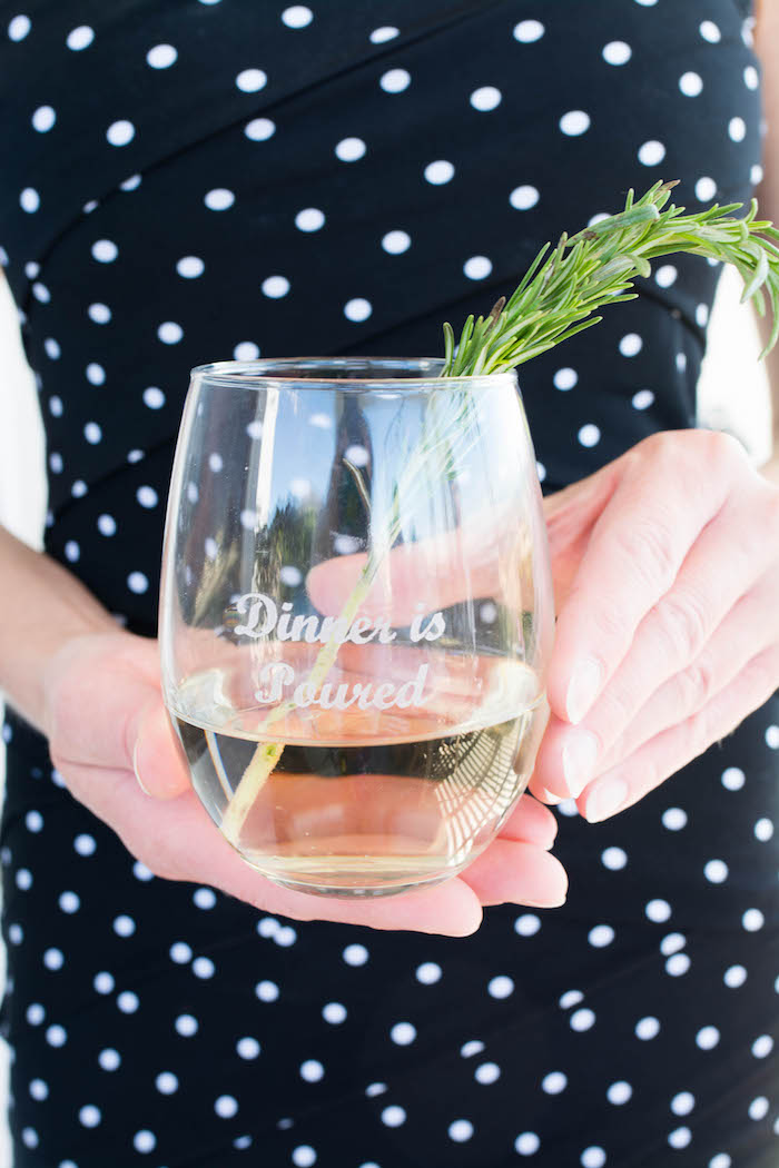Custom drink glass from an End of Summer Pineapple Themed Girls Night Party on Kara's Party Ideas | KarasPartyIdeas.com (12)