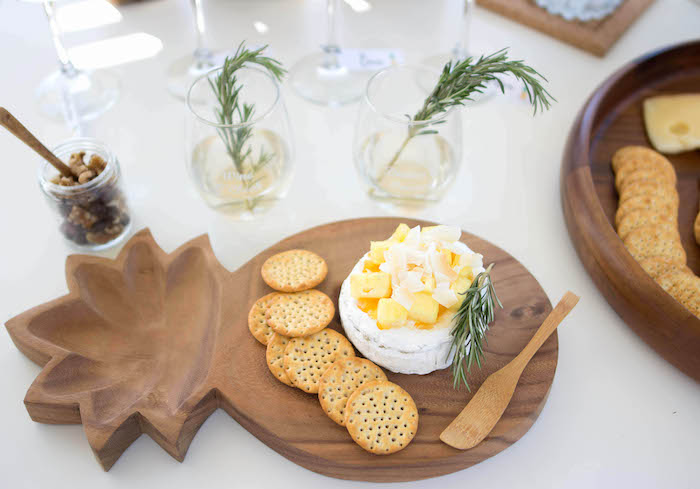Wooden pineapple platter from an End of Summer Pineapple Themed Girls Night Party on Kara's Party Ideas | KarasPartyIdeas.com (7)