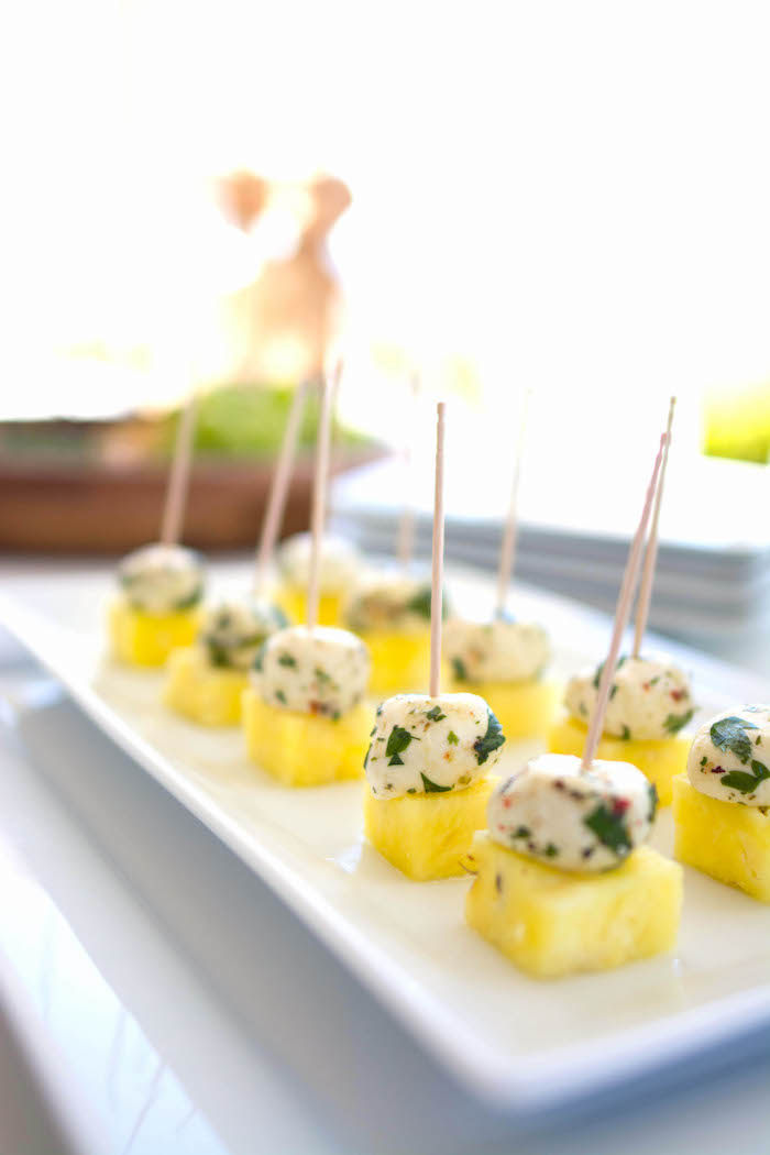 Cheese & pineapple sticks from an End of Summer Pineapple Themed Girls Night Party on Kara's Party Ideas | KarasPartyIdeas.com (23)