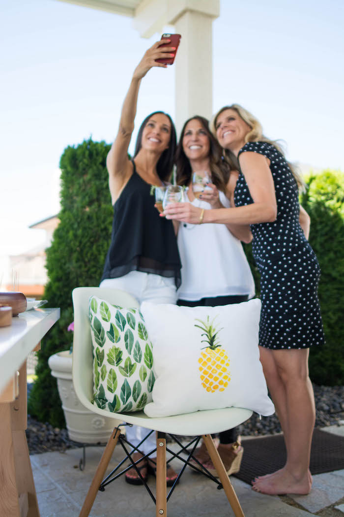 Pillows and chair from a End of Summer Pineapple Themed Girls Night Party on Kara's Party Ideas | KarasPartyIdeas.com (4)