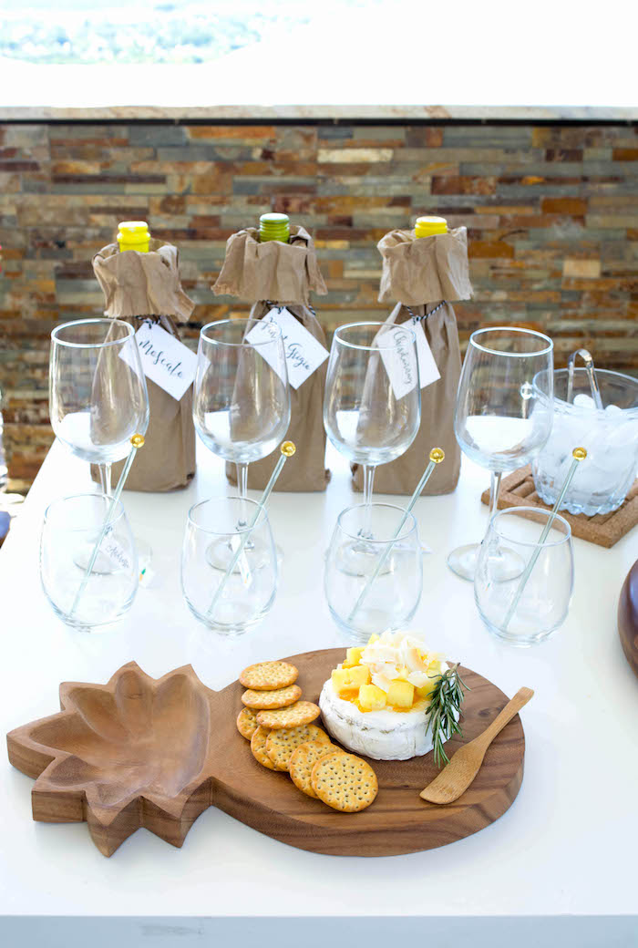 Drinks, glasses and cheese plate from an End of Summer Pineapple Themed Girls Night Party on Kara's Party Ideas | KarasPartyIdeas.com (21)