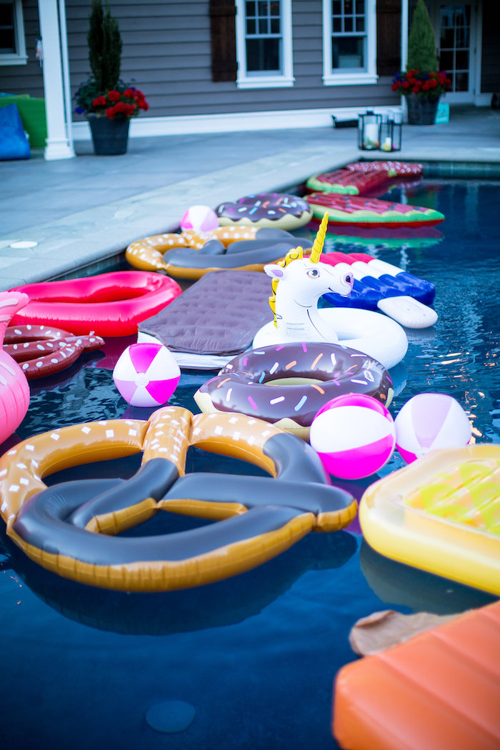 Pool floats from a Favorite Things Summer Party on Kara's Party Ideas | KarasPartyIdeas.com (34)