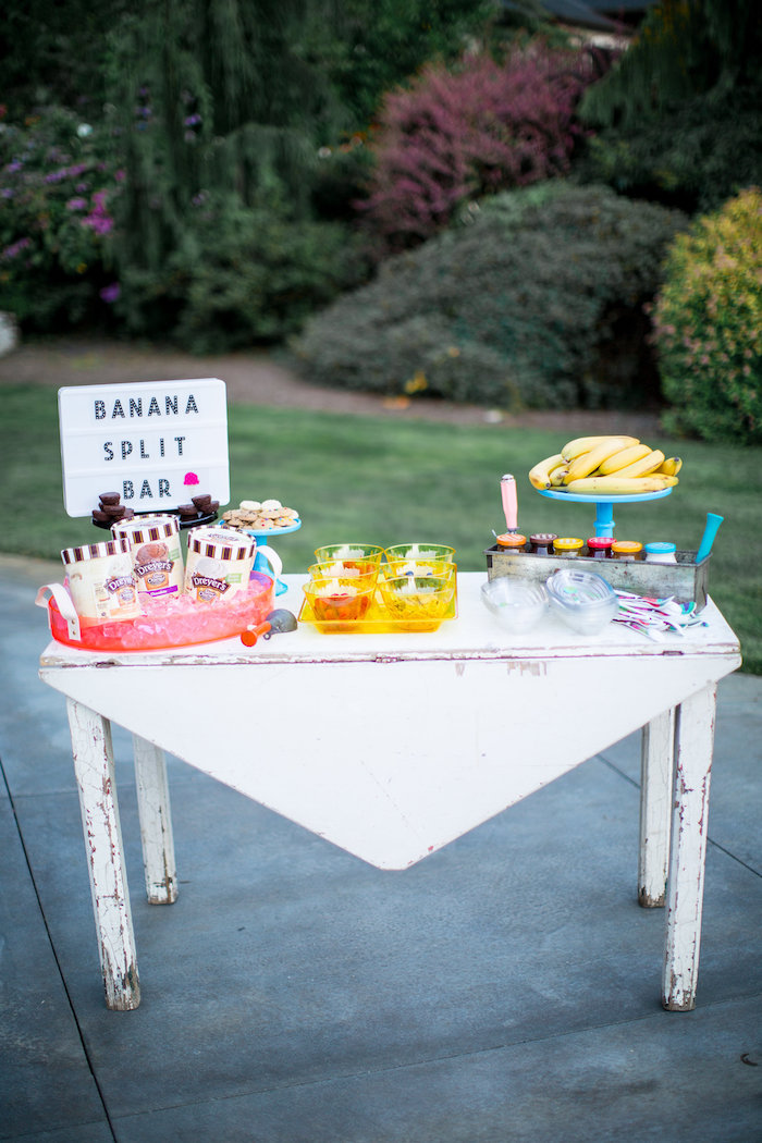 Banana Split Bar from a Favorite Things Summer Party on Kara's Party Ideas | KarasPartyIdeas.com (30)