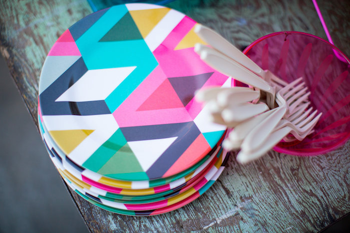 Funky plates from a Favorite Things Summer Party on Kara's Party Ideas | KarasPartyIdeas.com (20)