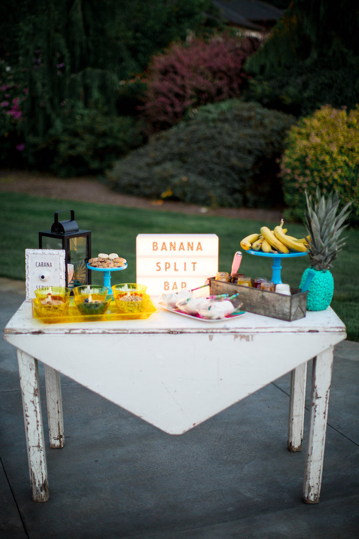 Banana Split Bar from a Favorite Things Summer Party on Kara's Party Ideas | KarasPartyIdeas.com (19)