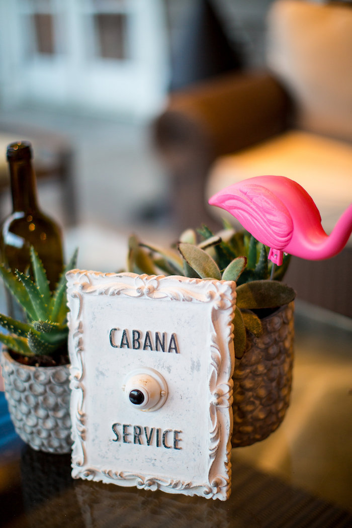Cabana service sign + succulents from a Favorite Things Summer Party on Kara's Party Ideas | KarasPartyIdeas.com (17)