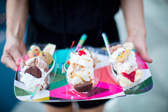 Banana splits from a Favorite Things Summer Party on Kara's Party Ideas | KarasPartyIdeas.com (13)
