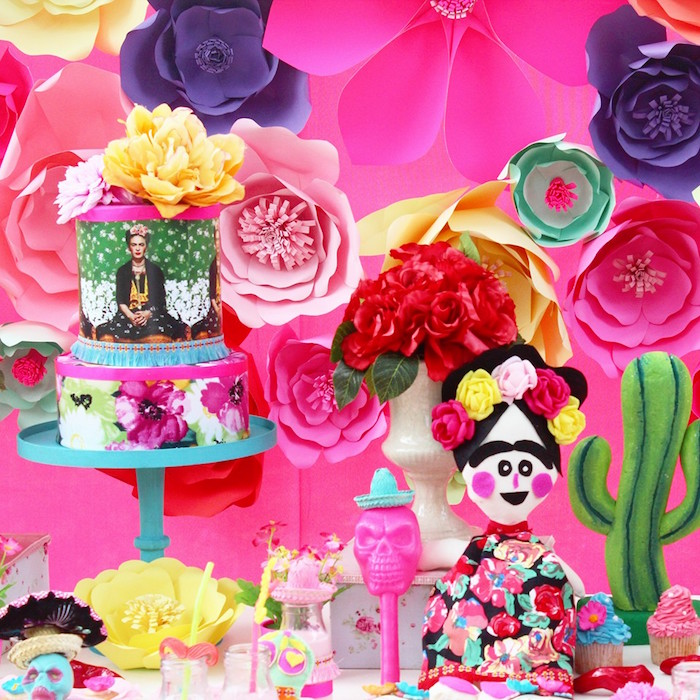 Cakescape from a Frida Kahlo Day of the Dead Inspired Fiesta on Kara's Party Ideas | KarasPartyIdeas.com (13)