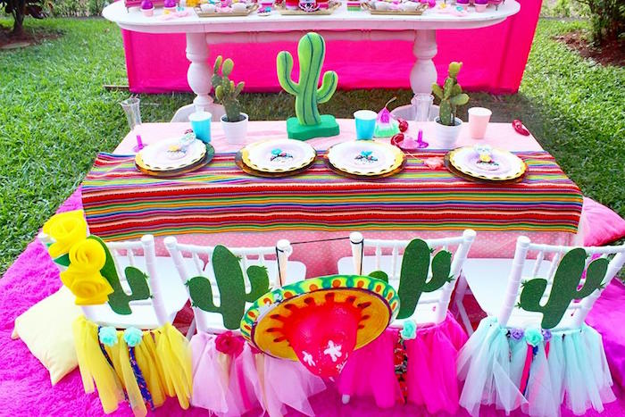 Cactus themed guest table from a Frida Kahlo Day of the Dead Inspired Fiesta on Kara's Party Ideas | KarasPartyIdeas.com (9)