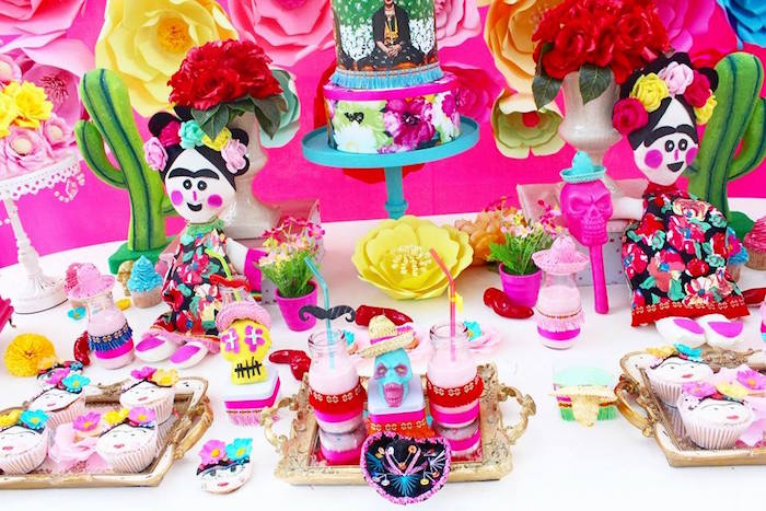 Sweet table setup from a Frida Kahlo Day of the Dead Inspired Fiesta on Kara's Party Ideas | KarasPartyIdeas.com (8)