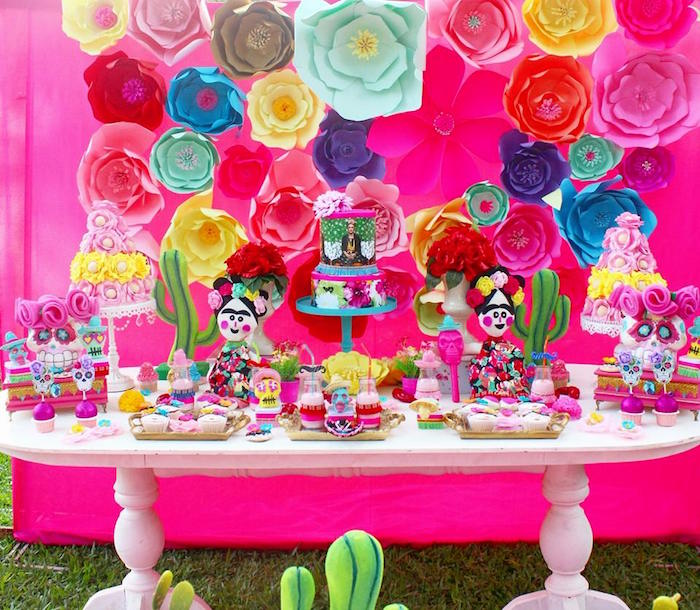 Day of the Dead dessert table from a Frida Kahlo Day of the Dead Inspired Fiesta on Kara's Party Ideas | KarasPartyIdeas.com (21)