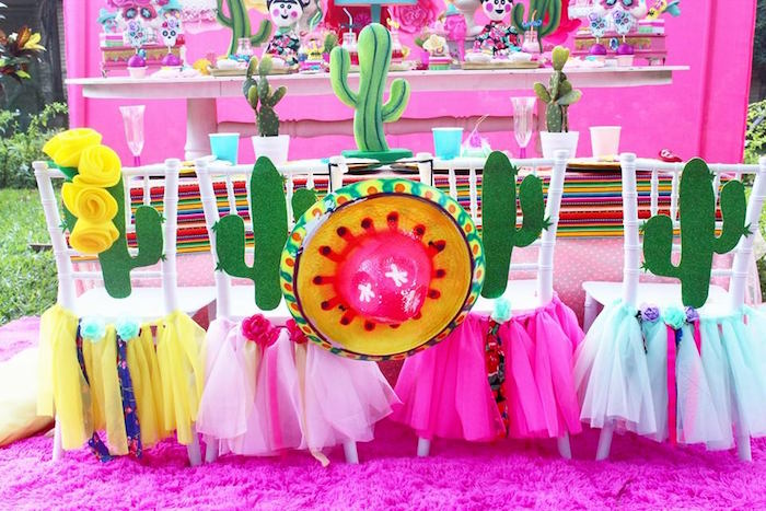 Cactus guest table from a Frida Kahlo Day of the Dead Inspired Fiesta on Kara's Party Ideas | KarasPartyIdeas.com (18)
