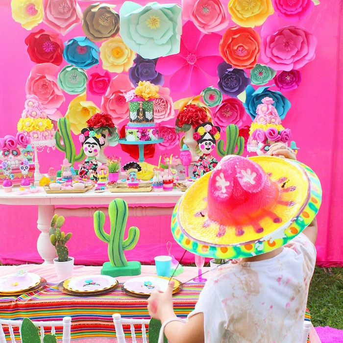 Party tables from a Frida Kahlo Day of the Dead Inspired Fiesta on Kara's Party Ideas | KarasPartyIdeas.com (16)